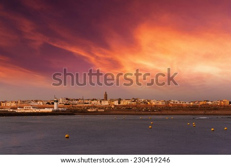 Sunset over Sale in Rabat, Morocco - stock photo