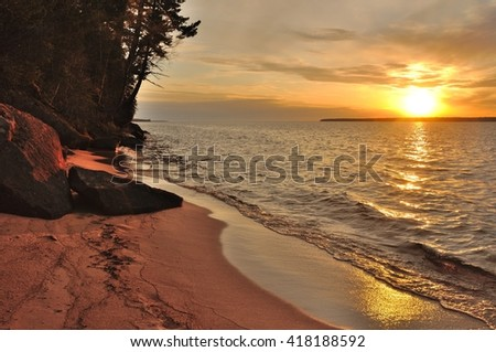 Sunset Over Sand Island of the Apostle Islands in Wisconsin