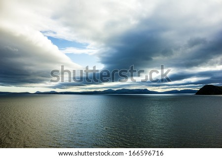 Sunset over sea - Norway Arctic seascape - stock photo