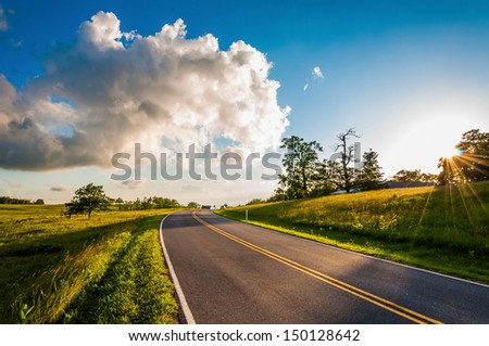Sunset over Skyline Drive in Big Meadows, Shenandoah National Park, Virginia. - stock photo