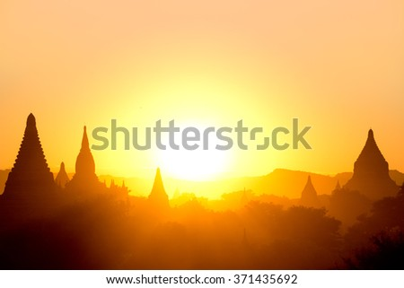 Sunset over Temples in Bagan, Myanmar  - stock photo