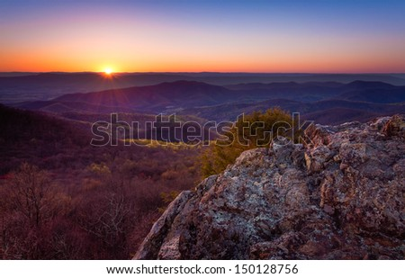 Sunset over the Appalachian Mountains from Bearfence Mountain, in Shenandoah National Park, Virginia - stock photo
