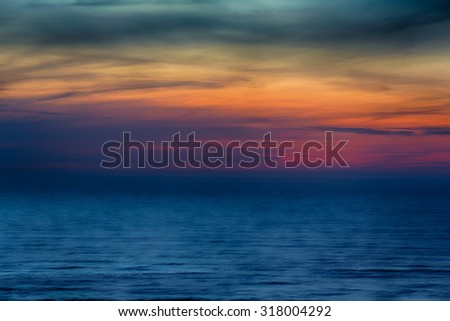 Sunset over the Baltic Sea at winter time