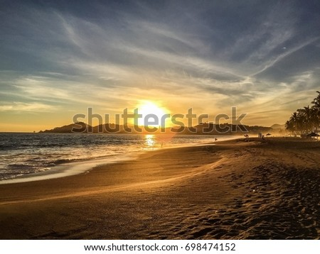Sunset over the beach