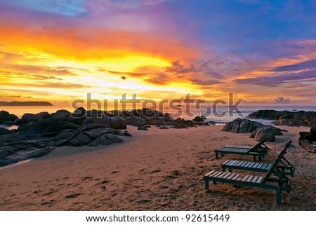 Sunset over the beach - stock photo