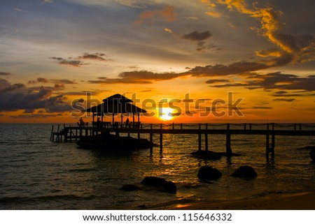 Sunset over the beach, island Koh Kood, Thailand. - stock photo