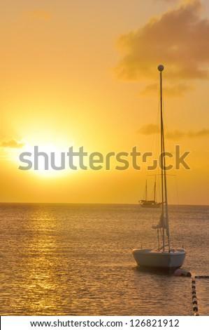 Sunset over the Caribbean Sea - stock photo