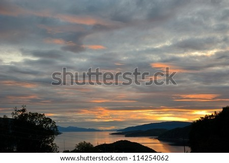 Sunset over the fjord