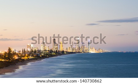 Sunset over the Gold Coast, Australia - stock photo