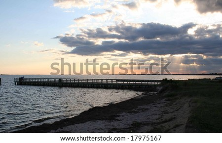 Sunset over the Great South Bay on Long Island - stock photo