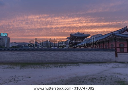 Sunset over the Gyeongbokgung palace in Seoul,korea