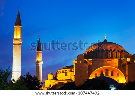 Sunset over The Hagia Sofia Mosque, Istanbul, Turkey - stock photo