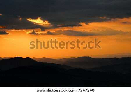 Sunset over the mountains in the Alps