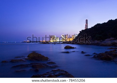 Sunset over the ocean at dusk in Hong Kong