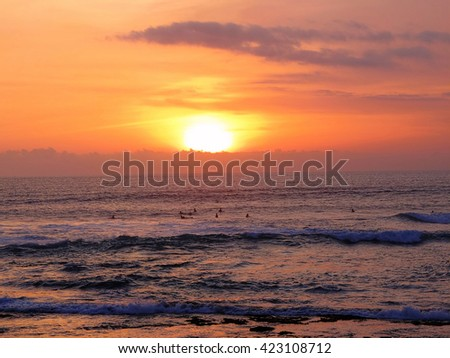 Sunset over the ocean, Bali, Indonesia.