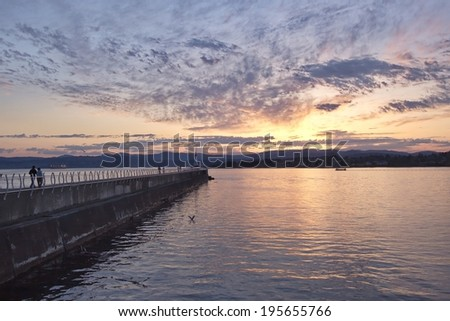 Sunset over the Ogden point breakwater, Victoria, BC, Canada