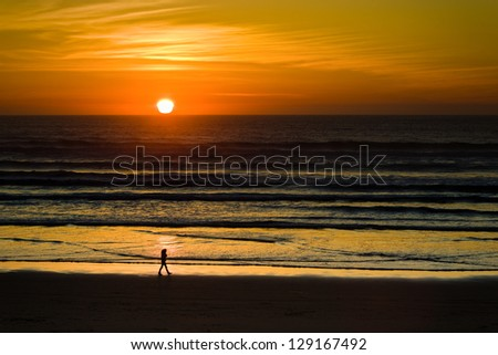 Sunset over the pacific - stock photo