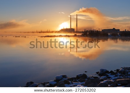 Sunset over the power plant