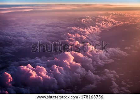 Sunset over the purple clouds
