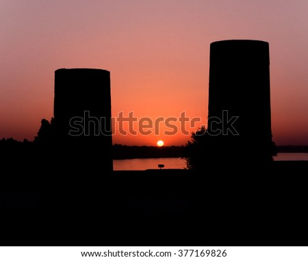 Sunset over the River Nile at Kom ombo Temple, Egypt