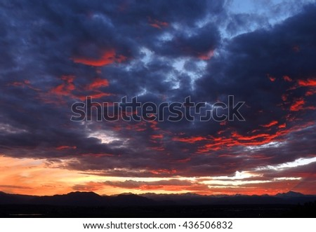 sunset over the rocky mountains as seen from Broomfield, colorado - stock photo