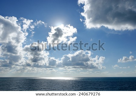 sunset over the sea in Genoa - stock photo