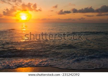 Sunset over the sea, Lamai Beach, Samui Island,Thailand - stock photo