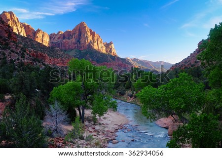 Sunset Over the Virgin River The Watchman Peak. Zion National Park, Utah. - stock photo