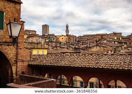 Sunset over the wonderful medieval city of Siena in Tuscany, Italy