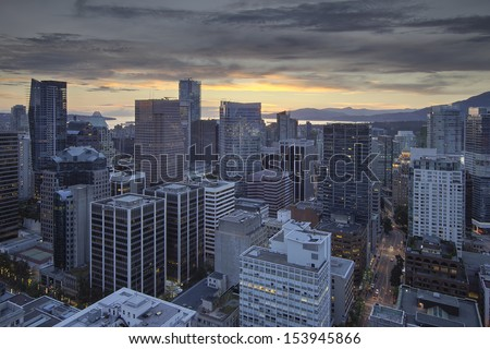 Sunset Over Vancouver BC Canada City and English Bay - stock photo
