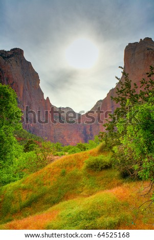Sunset over Zion National Park - stock photo