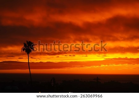 Sunset panorama above Hermosa beach, California, USA  - stock photo