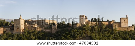 sunset Panorama of Alhambra, last fortress of Moors in Europe, abandoned in 1492 - stock photo
