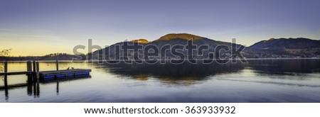 Sunset Panorama of  Bavaria Germany - stock photo
