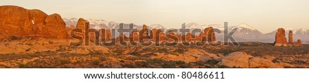 Sunset panorama of the Windows section. Arches National Park, Utah - stock photo