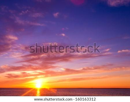 Sunset Paradise Burning Skies  - stock photo