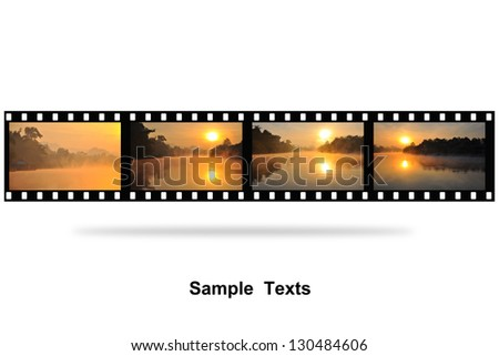 sunset photo with film strip isolated on white background