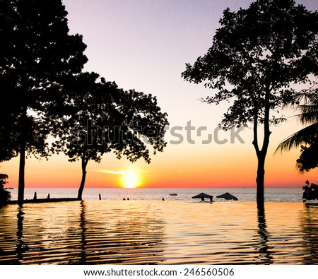 Sunset Pool Evening Relaxation  - stock photo