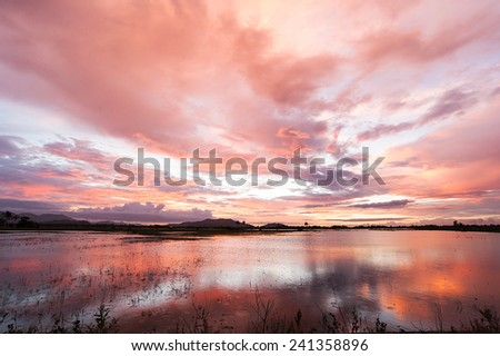 Sunset reflection in a lake