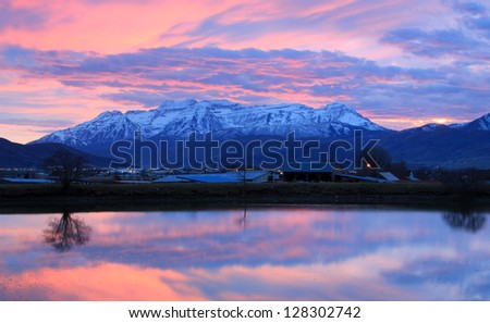Sunset reflection in rural Utah, USA. - stock photo