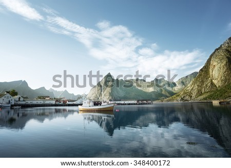 sunset - Reine, Lofoten islands, Norway - stock photo