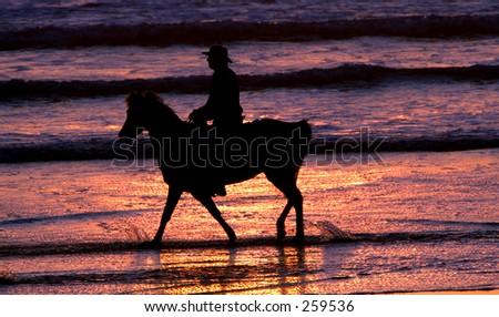 Sunset Ride Ocean - stock photo