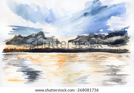 Sunset river and big blue clouds - stock photo