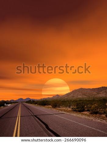 Sunset road Sonora desert and mountains Arizona - stock photo