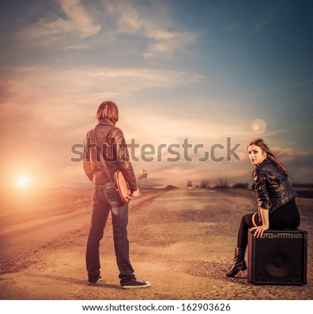 sunset road view - stock photo