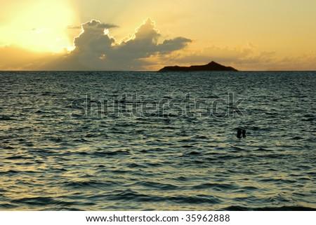 sunset romantic bath for couple - stock photo