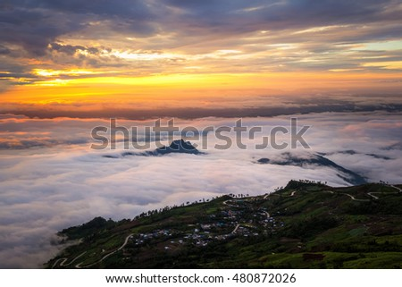 Sunset scene from top of mountain with the fog background
