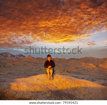 Sunset scene in Gobi - stock photo