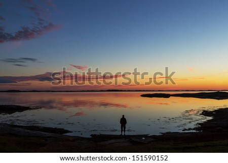 Sunset scene in North Norway