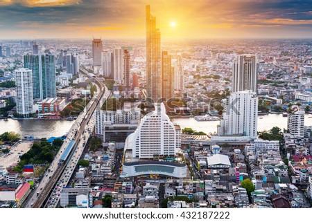 Sunset scene of Bangkok City of Thailand, Twilight scene of Bangkok City of Thailand, Bangkok City destination of tourist. - stock photo